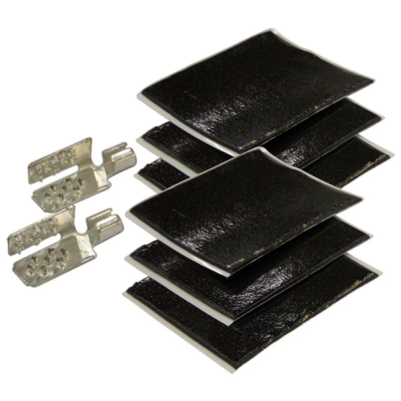 Набор включает в себя контактные зажимы (крабы) для подключения проводов к пленочному теплому полу, а также битумную изоляцию, предназначенную для герметизации мест соединения проводов, зажимов и медных шин теплого пола.