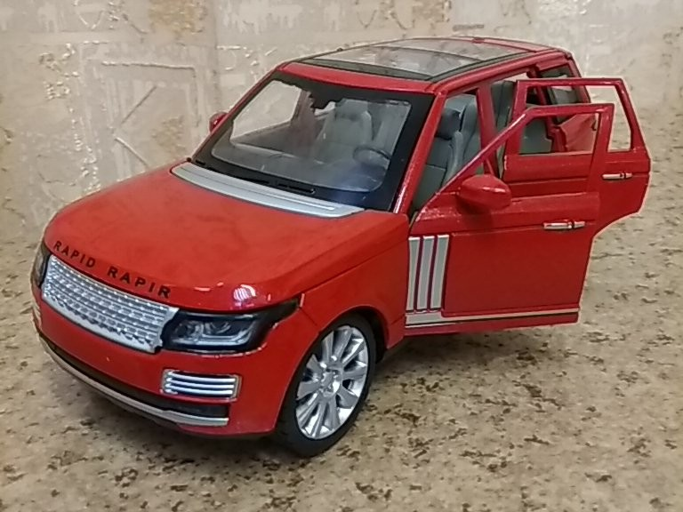 Металлическая инерционная модель автомобиля Range Rover (красный) 1:24 со звуком и светом
